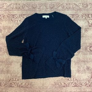 White + Warren Blue Metallic Tie Cuff Sweater